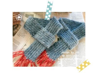 手工毛線貓用圍巾(藍色款)01