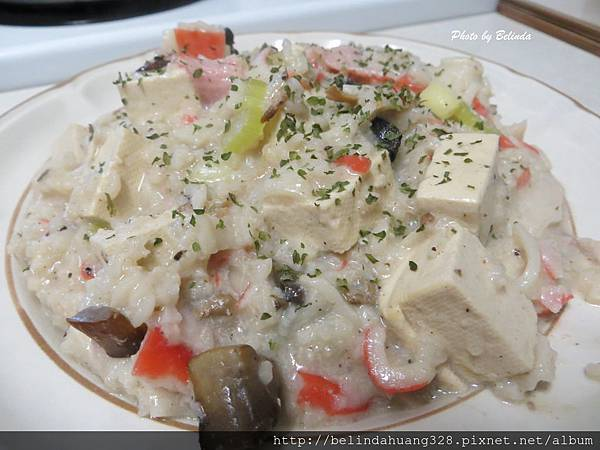 偽蟹肉蘑菇豆腐燉粥飯1