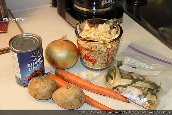 大紅豆玉米菜乾湯材料