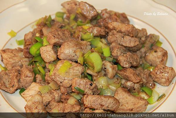 韮蔥炒鹹瘦豬肉Fried Marinated Pork With Leeks