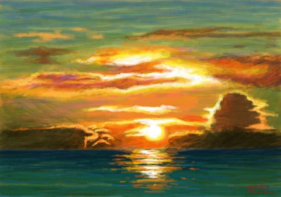 繪畫習作-夕陽