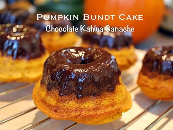 南瓜邦特蛋糕佐巧克力卡嚕哇甘那許 Pumpkin Bundt Cakes w/ Chocolate Kahlua Ganache