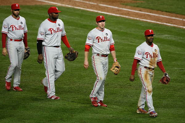 (L-R) Pedro Feliz(notes) #7, Ryan Howard(notes) #6, Chase Utley(notes) #26 and Jimmy Rollins(notes) #10.bmp
