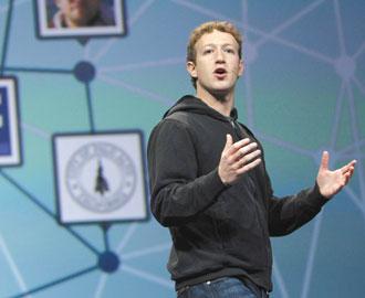 Facebook執行長查克柏格上月底展示新一代社群網站平台Open Graph。(彭博資訊).jpg
