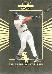 湯瑪斯在年輕時代保持著極驚人的上壘率。1994 Leaf Limited球員卡.jpg