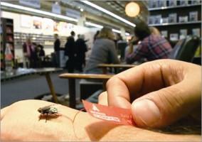 會飛的會展廣告 ▲在熱鬧的法蘭克福書展中,一隻屁股上粘著紅色小紙片的蒼蠅吸引了所有人的目光。廣告代理商Jung von Matt為德國出版商Eichborn製作的蒼蠅廣告,正巧與品牌標誌緊密結合,雖然版面小,卻完全不輸給成千上萬份的傳單。.jpg