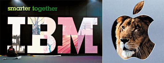 IBM(左)和蘋果(右)向來被視為兩極對頭,其實不然,兩家公司貌異神同,骨子裡是高科技創新的一體兩面。美聯社、路透.jpg