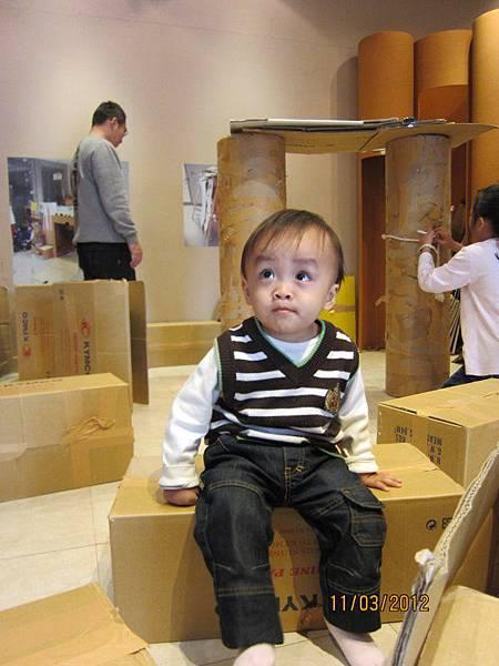 0311紙板展覽的紙箱玩耍