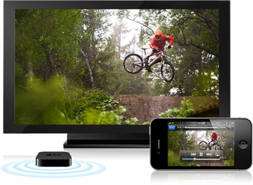 透過 AirPlay,你可將你 iPhone 上的內容,以無線方式透過 Apple TV,串流傳輸至你的 HDTV 或揚聲器上5。有了 AirPlay 鏡像輸出功能,你在 iPhone 看到什麼、使用什麼,都能同時在 HDTV 上顯示。