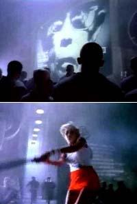 1984年蘋果在美式足球超級杯上推出電視廣告、播出一名女運動員手持大錘砸向投影機螢幕