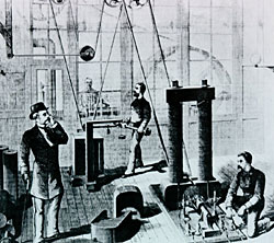 "Electric Generator In the fall of 1878, after experiments indicated that existing arc light generators were inefficient for incandescent lighting Edison and his chief assistants, Charles Batchelor and Francis Upton, investigated generator design and the principles of electromagnetism. During the first months of 1879, Edison designed a dynamo that differed in important ways from contemporary designs. Many contemporary electrical experts thought a generator would work best when its internal electrical resistance was equal to the external resistance of the circuit. This view was based on the understanding that the maximum power output for any given battery occurred when its internal resistance matched that of the rest of the circuit. Generators with equal internal and external resistance generated maximum current, but because Edison considered the economic efficiency of his system to be related to the number of lamps per horsepower, he determined that a generator with a small internal resistance would produce more efficient power output.  The other key feature of the Edison dynamo was its large bipolar magnets, which gave the generator its nickname, the ""long-legged Mary-Ann"" (a somewhat rude joke among the all-male laboratory staff). In arriving at this design, Edison drew in part on Michael Faraday's half-century-old work regarding the electromagnetic generation of current by a conductor (the armature) moving through the magnetic lines of force generated by a field magnet. Understanding that the more lines of force crossed in the most direct manner, the more productive the generator, Edison apparently conceived his large magnets as a concentrated source of Faraday's lines of magnetic force. However, John Hopkinson later demonstrated that such large electromagnets were inefficient."