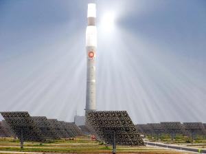 所有反射鏡把太陽能反射到高塔頂端的水箱中