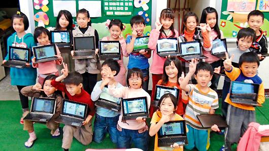 北山國小學生使用平板電腦上課,丟掉厚重書包,學習E化,學生不再打瞌睡。
