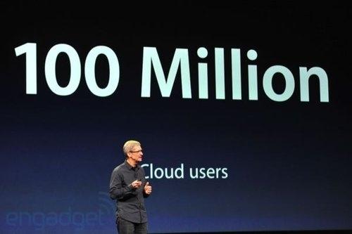 去年發表的iCloud雲端服務,已經有1億個用戶