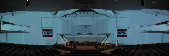 With all the lights off and the projectors on full, this is what the sanctuary looked like prior to any masking.
