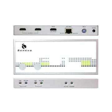 兩組 HDMI 數位影音訊號輸出,一組為 HDMI 埠,透過傳統 HDMI 纜線輸出;另一組為 RJ-45 埠,可透過一條 CAT5/CAT5E/CAT6 FTP 纜線連接短 / 長距離接收器,即可將 HDMI 數位影音訊號透過 FTP 纜線來輸出,搭配BHE101R或BHE102TR長距離接收器,最遠可達 70 公尺。採用最新 HDMI 1.3 規格,支援 FULL HD 1080p,支援 Deep Color ( 10-bit / 12-bit ) 廣色域影像及數位無壓縮音源格式,最高傳輸頻寬 225MHz,也可以向下相容 HDMI 及 DVI 規格。