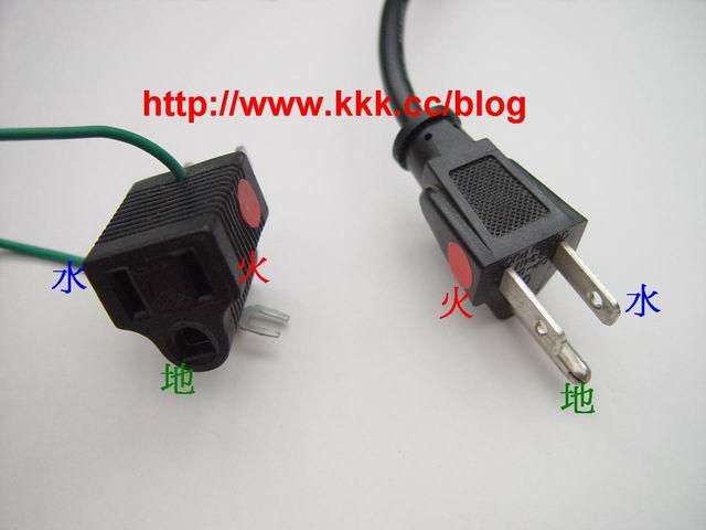 三孔的插座,假如以倒三角形來觀察, 右邊(插孔較小)的是[火線],左邊(插孔較大)的[水線],下方圓孔是[地線] (假若是電源插頭的話,左右會和電源插座相反,請留意!)