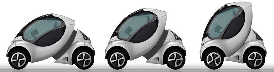 這部兩人座的電動車「Hiriko」,特色是,停車時車身長度可從原本的2.4公尺縮小到1.5公尺。對停車技術不好的人來說,把車擠進不大的停車格剛剛好。如果可以像機車一樣併排,原本一個汽車停車格可同時停進三部Hiriko;這部車的四輪可60°旋轉並側身前進,方向盤也被改為仿飛機機艙式的方向盤,往前車子就會前進,往後則是減速。