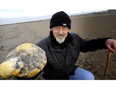 英男撿鯨魚嘔吐物「龍涎香」 珍寶價值近540萬   英國一名男子肯恩(Ken)在蘇格蘭海邊發現一塊黃色大石頭,上網查詢得知是珍貴的鯨魚嘔吐物龍涎香(ambergris)後,連忙撿拾回家。專家估計,這塊看似廢物的龍涎香價值11.5萬英鎊(約新台幣539萬4千元)。 外媒指出,肯恩當天在海邊散步看見這塊龍涎香,對它的顏色及散發難聞味道感到好奇,得知是罕見的龍涎香後又驚又喜,衝至海灘將這塊珍寶帶回家。據了解,龍涎香是抹香鯨的嘔吐物或排泄物,是一種名貴的香料。