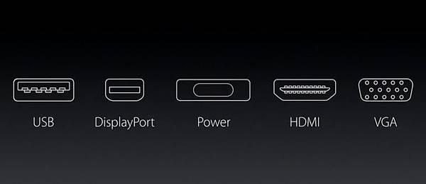USB-C 支援 DisplayPort 1.2a 數位視訊規範,也就是說以前電腦上的 VGA (D-Sub)、HDMI 以及 DVI 通通可以被 USB-C 這個更小的接頭取代。