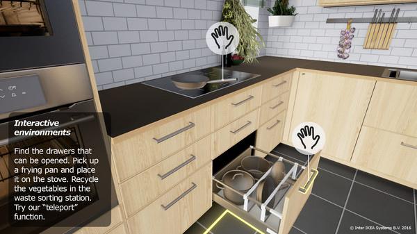 透過IKEA虛擬實境體驗,僅需簡單按下選項,即可更換櫥櫃及抽屜的顏色