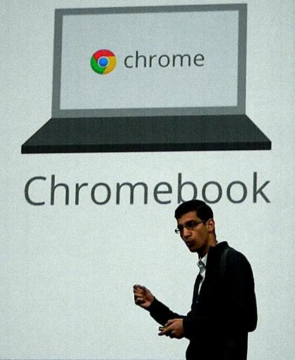 Google的Chrome瀏覽器平台業務資深副總裁Sundar Pichai在Google I/O 大會上發表Chromebook