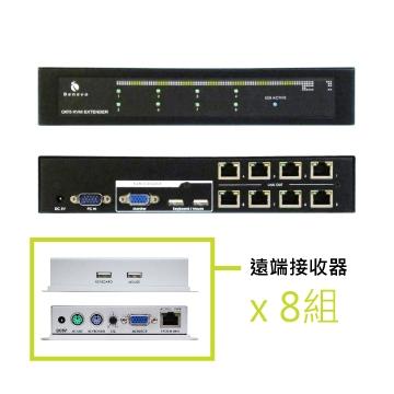 Ca5 USB KVM延伸器 - 8埠控制端訊號傳送器(8個遠端用Cat5纜線延伸達200M)