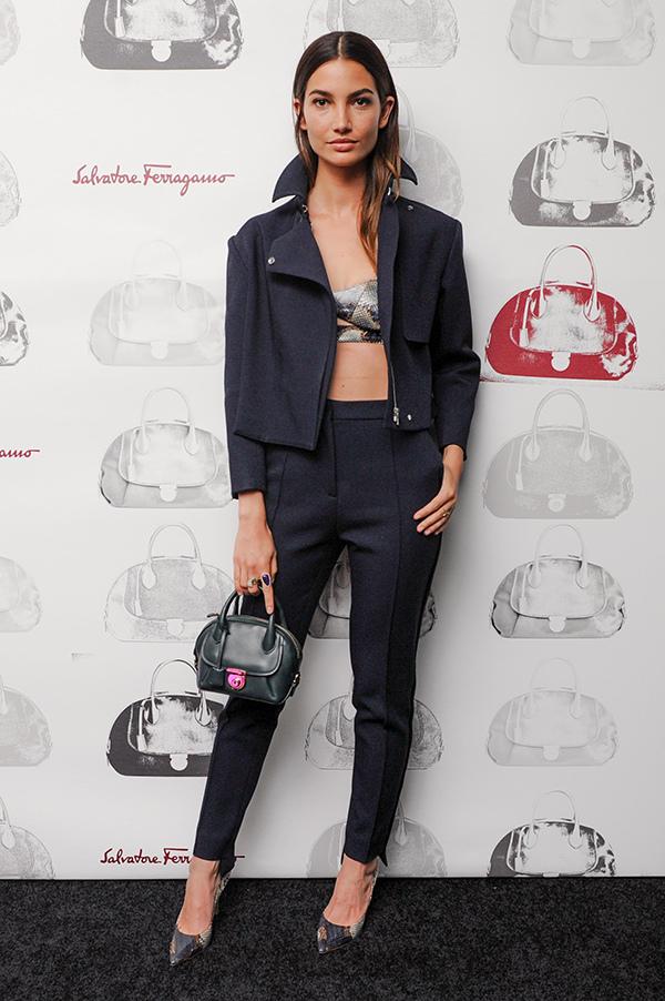名模莉莉奧爾德里奇(Lily Aldridge)參加Fiamma包款上市私人晚宴_Fiamma墨綠色牛皮提包, 建議售價NT$65,900_1.jpg
