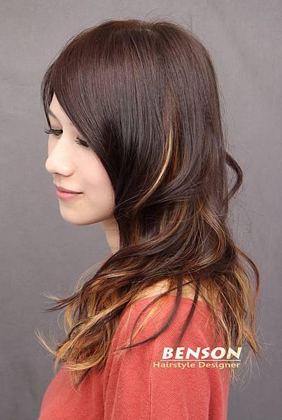巧克力棕色調混搭內層漂染髮型低調艷麗風格@尚洋髮型班森設計師