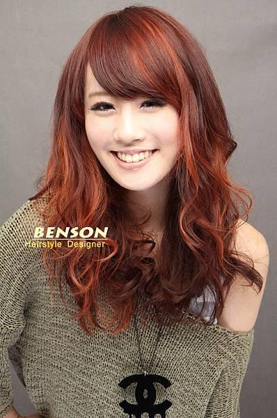 橘紅色調點綴上艷麗區塊染髮設計@尚洋髮型班森設計師
