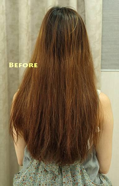 改造前~及腰毛燥受損髮