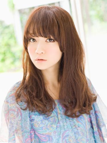 可愛小臉效果女生長捲髮型A-1