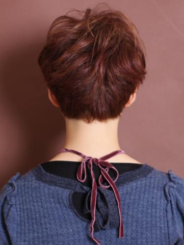 自然可愛短捲髮髮型-俏麗紫褐髮色系A-3