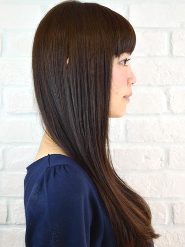 厚劉海時尚但簡單可愛的長直髮型A-2