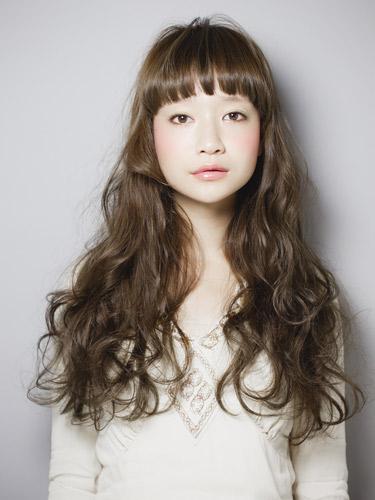 無辜感短瀏海長捲髮型-質感茶褐色女孩風A-1