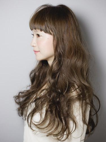 無辜感短瀏海長捲髮型-質感茶褐色女孩風A-2