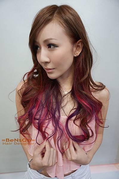 桃紅色紫色染髮