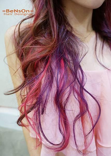 桃紅色紫色設計染髮