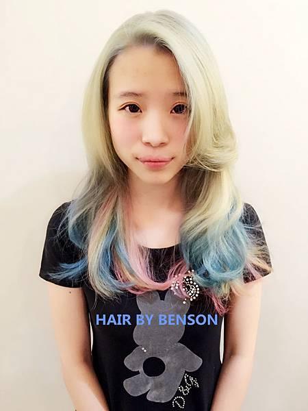 粉色幻彩染髮