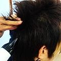 後頭部的頭髮往上拉,風一樣要吹髮根
