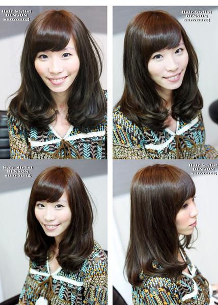 2010時尚茶褐色調中長內彎髮型
