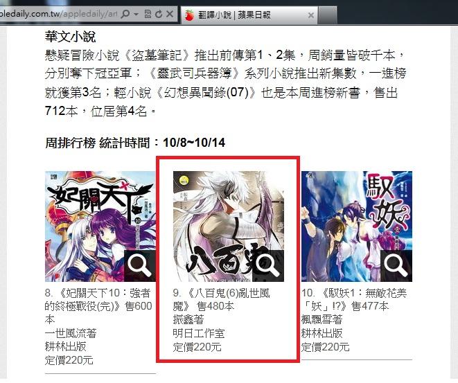 2012蘋果榜10.8-10.14