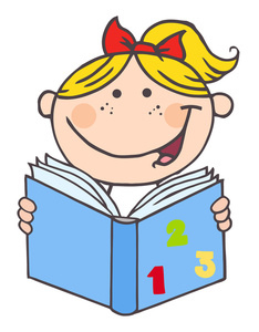 clip_art_cartoon_of_a_happy_smiling_little_girl_reading_a_book_of_numbers_0521-1101-1321-5229_SMU