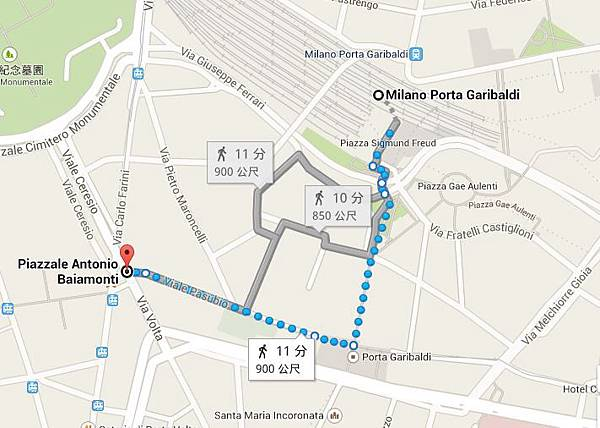 Porta Garibaldi 路線圖