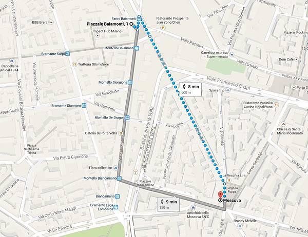 Moscova步行距離