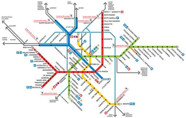 米蘭地鐵路線圖