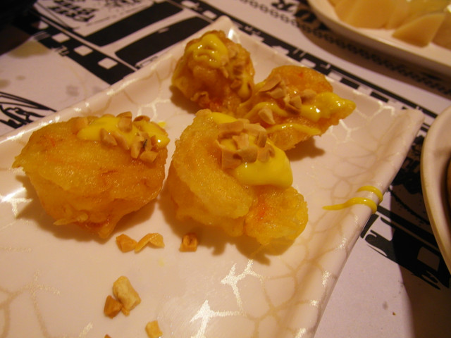 黃芥末蝦球 上面有花生米