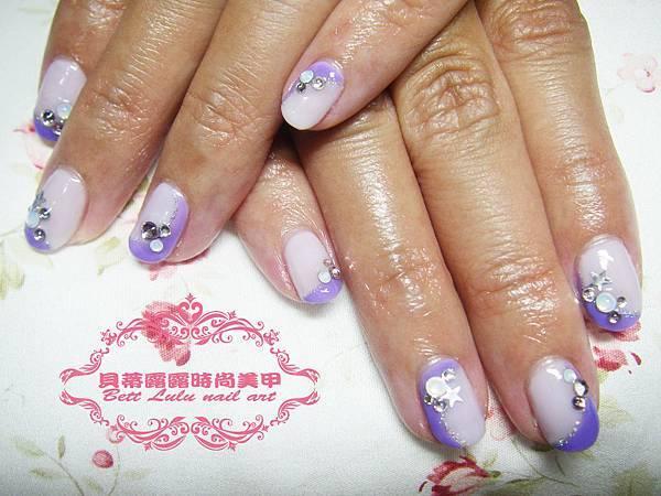 紫色雙色造型法式光療