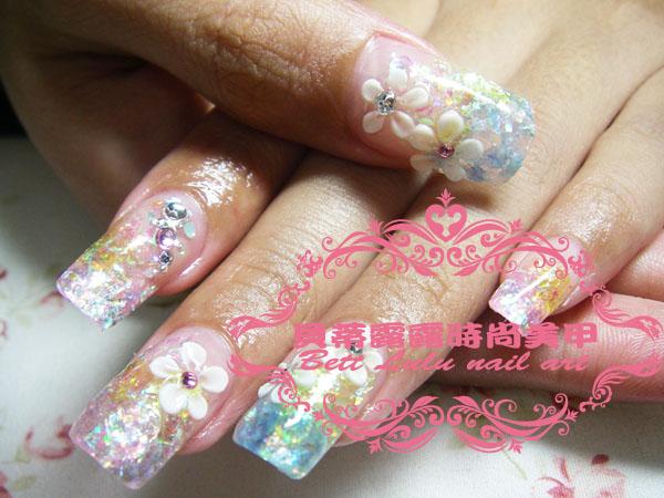 三色漸層雕花水晶指甲