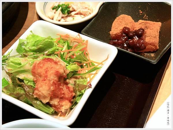 博多-華味鳥-水炊雞鍋-炸雞塊+甜點.JPG